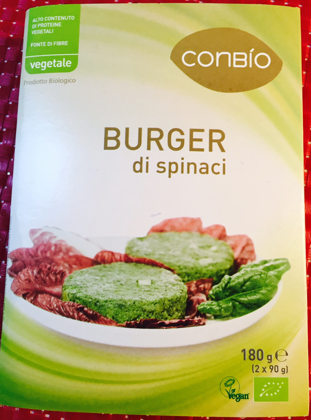 Burger di spinaci Conbio - lattosio 0% Image