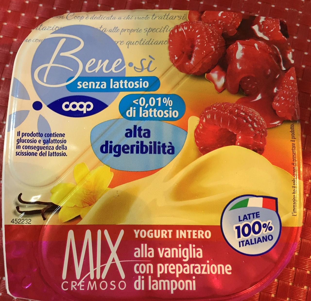 Yogurt vaniglia e lampone Bensì Coop - lattosio <0,01 Image