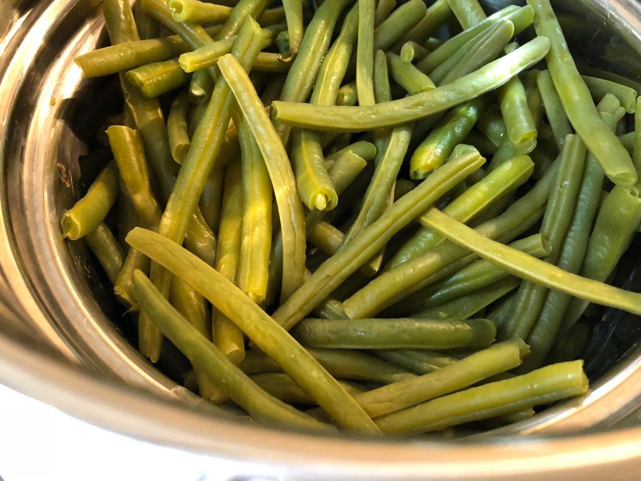 tegoline cotte al vapore - Fagiolini e pancetta