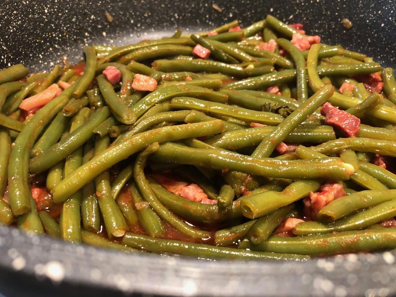 fagiolini in cottura - Fagiolini e pancetta